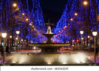 BILBAO, SPAIN. 15th DECEMBER, 2015:christmas decoration at Moyua square in downtown Bilbao, Spain