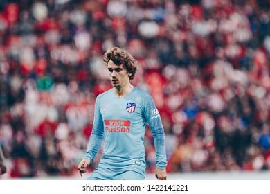 Bilbao, Spain. 16th March, 2019. Pais Vasco. San Mamés. Liga santander. Athletic Bilbao v Atlético Madrid: Antoine Griezmann (#7) waiting for the ball during the game.