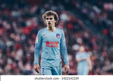 Bilbao, Spain. 16th March, 2019. Pais Vasco. San Mamés. Liga santander. Athletic Bilbao v Atlético Madrid: Antoine Griezmann (#7) at San Mamés during the game.