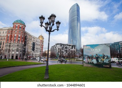 BILBAO, SPAIN - 17 FEBRUARY: Different architectural styles at Euskadi Plaza. 17 FEBRUARY 2018