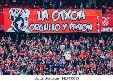 Bilbao, Spain. 27th April, 2019. Pais Vasco. San Mamés. Liga santander. Athletic Bilbao v D. Alavés: Athletic CLub supporters on their stands.