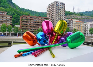 BILBAO, SPAIN -7 JUL 2018- The Tulips are a colorful sculpture made of stainless steel by artist Jeff Koons in Bilbao, Basque Country, Spain.