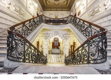Bilbao, Spain - April 24, 2015: Stairs inside foral palace in Bilbao. The staircase and hall is a amazing architectural work.