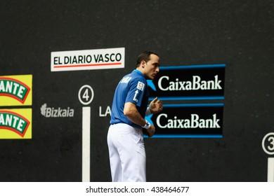 BILBAO, SPAIN - APRIL 9: Juan Martinez de Irujo in the handball championship game of pairs, celebrated on April 9, 2016 in Bilbao, Spain