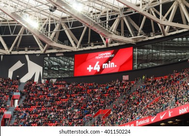 BILBAO, SPAIN - ARPIL 3: Video scoreboard indicates four minutes added, in the match between Athletic Bilbao and Granada, celebrated on April 3, 2016 in Bilbao, Spain