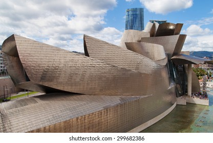 BILBAO, SPAIN - AUGUST 13: Guggenheim Bilbao museum on August 13, 2014 in Bilbao, Spain. Designed by Frank Gehry, was completed in 1997.