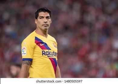 BILBAO, SPAIN. August 16th, 2019. Basque Country. San Mames. Liga Santander. Athletic Bilbao v FC Barcelona: Luis Suarez, FC Barcelona forward player.