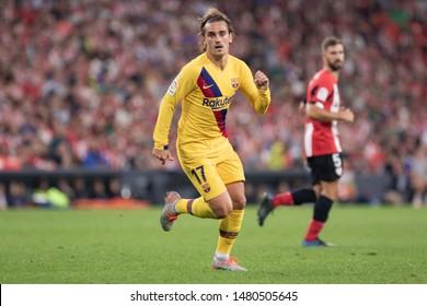 BILBAO, SPAIN. August 16th, 2019. Basque Country. San Mames. Liga Santander. Athletic Bilbao v FC Barcelona: Antoine Griezmann runs for the ball