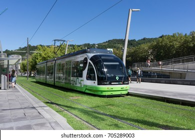 BILBAO, SPAIN - AUGUST 17, 2017: A Bilbao Metro Tram near the Riverwalk. It is the third largest Metro company in Spain by number of passengers carried (87,133,034 in 2013).