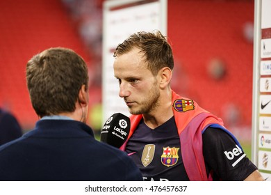 BILBAO, SPAIN - AUGUST 28: Ivan Rakitic in a sports interview after the match between Athletic Bilbao and FC Barcelona, celebrated on August 28, 2016 in Bilbao, Spain