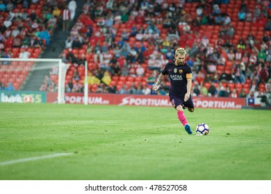 BILBAO, SPAIN - AUGUST 28: Lionel Messi, FC Barcelona player, in action during a Spanish League match between Athletic Bilbao and FC Barcelona, celebrated on August 28, 2016 in Bilbao, Spain
