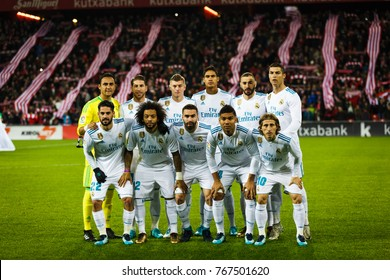 BILBAO, SPAIN - DECEMBER 02, 2017: Real Madrid poses for the press before the Spanish League match between Athletic Club Bilbao and Real Madrid