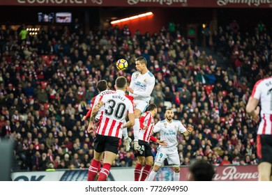 BILBAO, SPAIN - DECEMBER 02, 2017: Cristiano Ronaldo, CR7, Real Madrid player, in action during a Spanish League match between Athletic Club Bilbao and Real Madrid