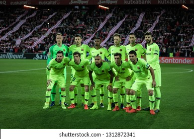 BILBAO, SPAIN - FEBRUARY 10, 2019: Barcelona players, pose for thr press in the Spanish League match between Athletic Club Bilbao and FC Barcelona at San Mames Stadium