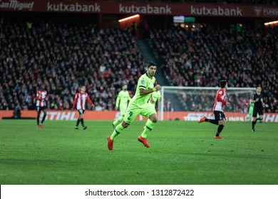 BILBAO, SPAIN - FEBRUARY 10, 2019: Luis Suarez, Barcelona player, in action during a Spanish League match between Athletic Club Bilbao and FC Barcelona at San Mames Stadium