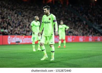 BILBAO, SPAIN - FEBRUARY 10, 2019: Lionel Messi, Leo, Barcelona player, in action during a Spanish League match between Athletic Club Bilbao and FC Barcelona at San Mames Stadium