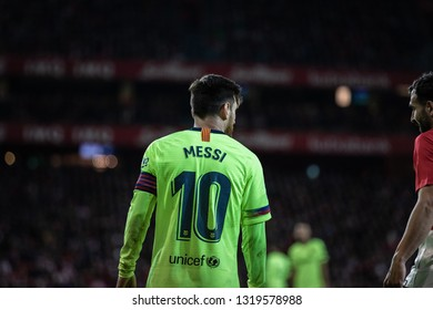 BILBAO, SPAIN - FEBRUARY 10, 2019: Lionel Messi (L) and Mikel Balenziaga (R) talk during a Spanish League match between Athletic Club Bilbao and FC Barcelona at San Mames Stadium