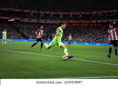 BILBAO, SPAIN - FEBRUARY 10, 2019: Ivan Rakitic, Barcelona player, in action during a Spanish League match between Athletic Club Bilbao and FC Barcelona at San Mames Stadium