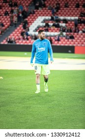 BILBAO, SPAIN - FEBRUARY 10, 2019: Leo Messi, Barcelona player, in the preheating Spanish League match between Athletic Club Bilbao and FC Barcelona at San Mames Stadium