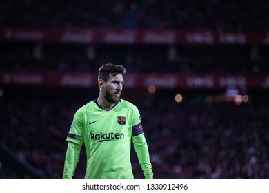 BILBAO, SPAIN - FEBRUARY 10, 2019: Lionel Messi, Leo Messi, Barcelona player, in action during a Spanish League match between Athletic Club Bilbao and FC Barcelona at San Mames Stadium