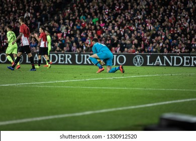 BILBAO, SPAIN - FEBRUARY 10, 2019: Iago Herrerin, Athletic Bilbao goalkeeper, in action during a Spanish League match between Athletic Club Bilbao and FC Barcelona at San Mames Stadium