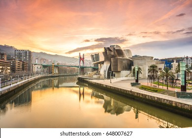 Bilbao, Spain - February 12, 2017: Morning view of modern and contemporary art Guggenheim Museum
