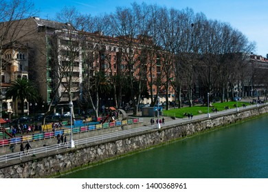 Bilbao, Spain. February 16, 2019.  View of Bilbao City, the Nervion River and the promenade