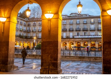 BILBAO, SPAIN - FEBRUARY 26  2020: Plaza Barria.