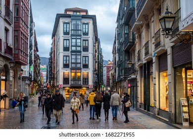 BILBAO, SPAIN - FEBRUARY 26  2020: Twilight in the old town