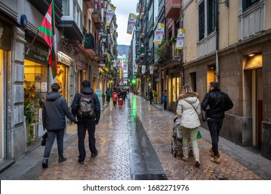 BILBAO, SPAIN - FEBRUARY 26  2020: Twilight at a rainy day in the old town