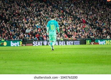 BILBAO, SPAIN - JANUARY 05, 2017: Lionel Messi, FC Barcelona player, in action during the eighth-finals Spanish Cup match between Athletic Bilbao and FC Barcelona