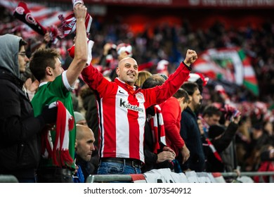 BILBAO, SPAIN - JANUARY 05, 2017: Unidentified fans celebrate a goal of Bilbao during the eighth-finals Spanish Cup match between Athletic Bilbao and FC Barcelona