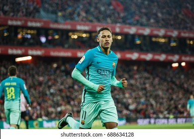 BILBAO, SPAIN - JANUARY 05, 2017: Neymar da Silva Santos Junior, FC Barcelona player, in action during the eighth-finals Spanish Cup match between Athletic Bilbao and FC Barcelona