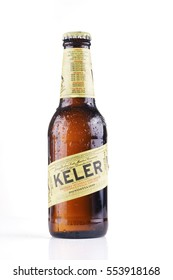 BILBAO, SPAIN -JANUARY 10, 2017. Bottle of Keler beer. Keler is a spanish beer brand, produced by Damm, following the original 1890 recipe created in Donostia, Basque Country by Juan and Teodoro Kutz.