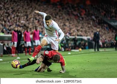 BILBAO, SPAIN - JANUARY 13, 2019: Andre Silva, Sevilla player, in the Spanish League match between Athletic Club Bilbao and Sevilla FC at San Mames Stadium on January 13, 2019 in Bilbao, Spain