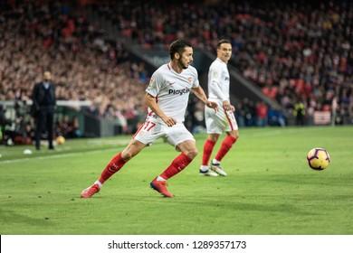 BILBAO, SPAIN - JANUARY 13, 2019: Pablo Sarabia, Sevilla player, in the Spanish League match between Athletic Club Bilbao and Sevilla FC at San Mames Stadium on January 13, 2019 in Bilbao, Spain
