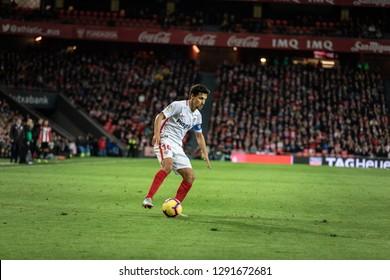 BILBAO, SPAIN - JANUARY 13, 2019: Jesus Navas, Sevilla player, in action during a Spanish League match between Athletic Club Bilbao and Sevilla FC at San Mames Stadium