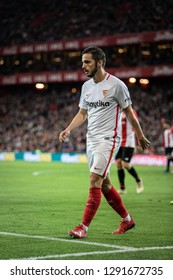 BILBAO, SPAIN - JANUARY 13, 2019: Pablo Sarabia, Sevilla player, in action during a Spanish League match between Athletic Club Bilbao and Sevilla FC at San Mames Stadium