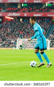 BILBAO, SPAIN - JANUARY 20: Neymar with the ball, in the quarter-finals of the Cup, celebrated on January 20, 2016, in Bilbao, Spain