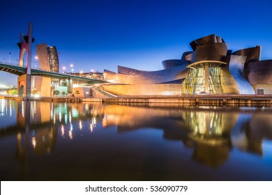 Bilbao, Spain - January 23, 2015: night view of modern and contemporary art Guggenheim Museum