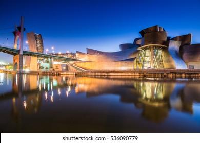 Bilbao, Spain - January 23, 2015: night view of modern and contemporary art Guggenheim Museum