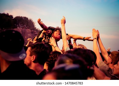 BILBAO, SPAIN - JUL 11: The crowd in a concert at BBK Live 2019 Music Festival on July 11, 2019 in Bilbao, Spain.
