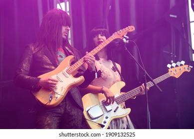BILBAO, SPAIN - JUL 11: Khruangbin (band) perform in concert at BBK Live 2019 Music Festival on July 11, 2019 in Bilbao, Spain.