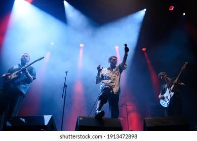 BILBAO, SPAIN - JUL 13: Shame (punk rock band) perform in concert at BBK Live 2019 Music Festival on July 13, 2019 in Bilbao, Spain.