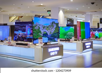 Bilbao- Spain - JULY 2018: Samsung QLED TV display in the shopping center