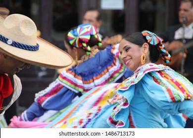 BILBAO, SPAIN - July 25 2012: Mexican folk dance in a festival