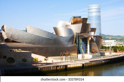 BILBAO, SPAIN - JULY 4, 2015:  Guggenheim Museum Bilbao is  museum of modern and contemporary art, designed by Canadian-American architect Frank Gehry
