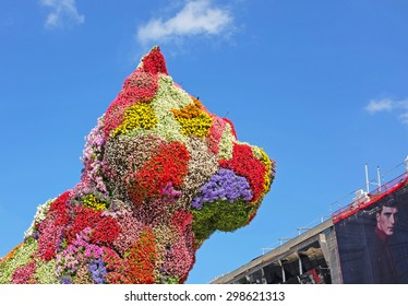 BILBAO, SPAIN - JULY 7, 2015: Puppy, sculpture of west highland white terrier executed in flowers by the American kitch artist Jef Koons. Part of the collection of the Guggenheim museum since 1997