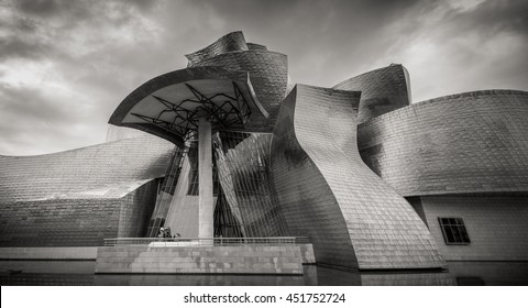 BILBAO, SPAIN - June 18, 2016: Guggenheim Museum on June 18, 2016 in Bilbao, Spain. This and futuristic museum was designed by Frank Gehry.