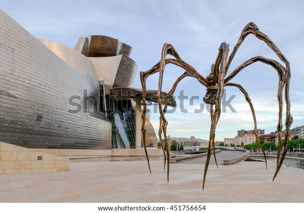 BILBAO, SPAIN - JUNE 20, 2016: The Spider, sculpture of Louise Bourgeois in the Guggenheim Museum Bilbao, Spain.